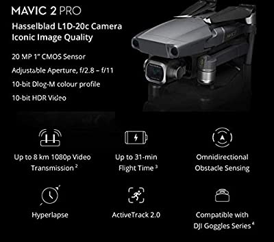 Mavic 2 Pro Drone Quadcopter with Extra Battery, Platinum Bundle, with Tablet iPad Holder, 64GB SD Card, Drone Case, Landing Gear and Signal Booster