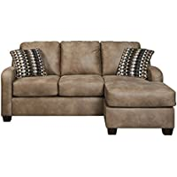 Benchcraft Alturo Collection 6000318 81 Sofa Chaise with Faux Leather Upholstery Stitched Detailing Tapered Block Feet and Contemporary Style in