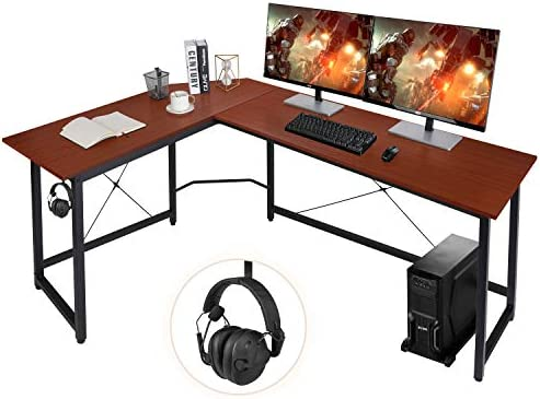 "AuAg Modern L-Shaped Home Office Desk 66 inch Sturdy Computer PC Laptop Table Corner Desk Workstation Larger Gaming Desk Easy to Assemble 66"" x 47.5"" x 29"" (Brown)"