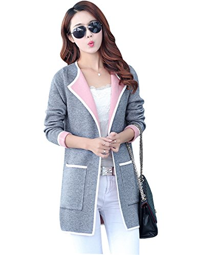Yeokou Women's Casual Slim Open Front Thick Long Cardigan Sweater With Pockets,Grey,Medium ()