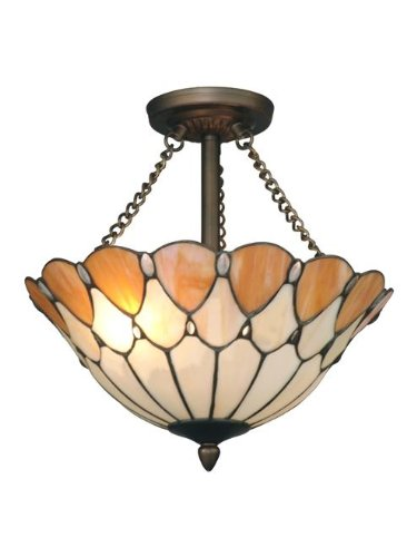 Dale Tiffany TH11202 Scalloped Jeweled Flush Mount Light Fixture, Antique Bronze