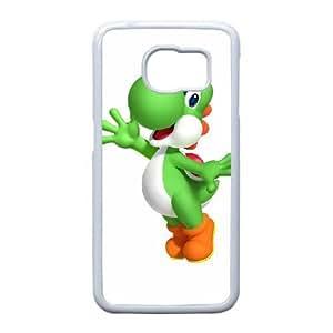 YOSHI FELIZ 04 para funda Samsung Galaxy S6 Edge funda del teléfono celular de cubierta blanca
