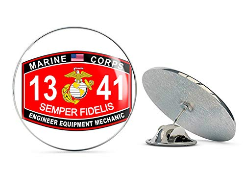 Veteran Pins Engineer Equipment Mechanic Marine Corps MOS 1341 USMC US Marine Corps Military Steel Metal 0.75