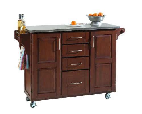 Home Styles  Create-a-Cart Cabinet Kitchen Cart with Stainless Steel Top, Medium Cherry Finish