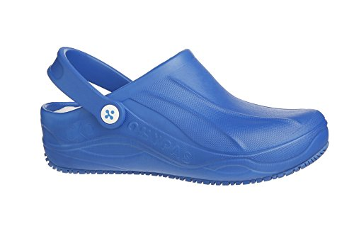 Oxypas Smooth Hospital Clog, Anit Slip Sole, Antistatic, Suitable for Healthcare professionals, Operating Room Personnel, Nurses and Caregivers Electric Blue