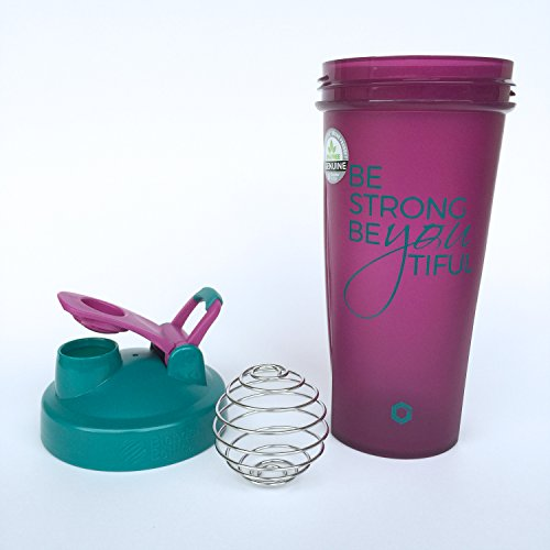 Be Strong BeYOUtiful Blender Bottle, 28oz Classic Protein Shaker Cup (Plum Gift Set)