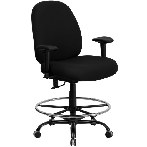 ERGONOMIC HOME Tough Enough Series Big & Tall 400 LB. Rated Black Fabric Drafting Chair with Adjustable Back Height and ()