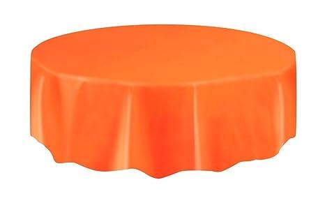 Round Table Orange.Orange Plastic Table Cover Round