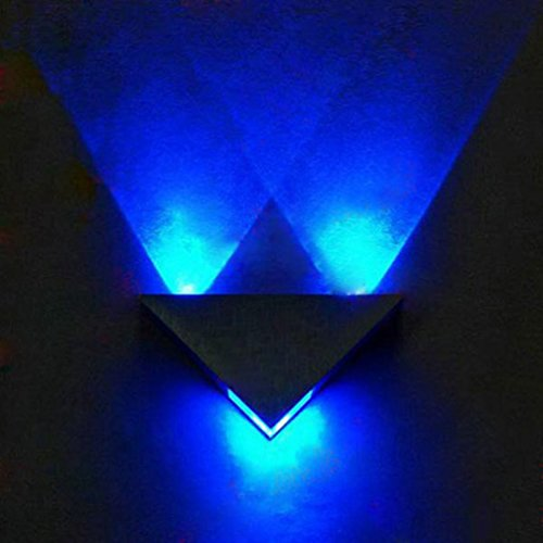 Blue Sconce Matte (COOLWEST 3W LED Wall Sconces Blue Light Fixture Hardwired for Theater Studio Store Hall Porch Corridor Bedside Bedroom Triangle Shape Decorative Lights)