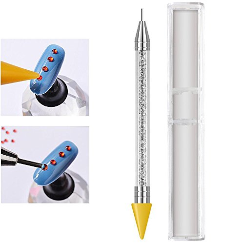 - 1 Pc Senior Double-head Wax ended Nail Rhinestone Picker Dotting Pen Acrylic Handle Gem Pick Up Applicator Tool Self-Adhesive Dot Head Tips Nail Art DIY Decoration Tool with Travel case (Yellow)