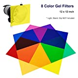 LS Photography 8 Color Gel Filter, 12 x 12 inch, Transparent Color Color Film, Color Correction for Camera Flash Light, Speedlite, LGG631