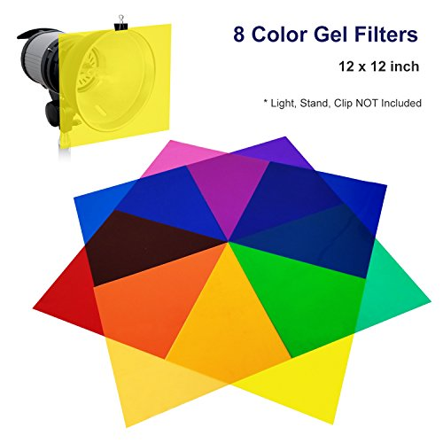 LS Photography 8 Color Gel Filter, 12 x 12 inch, Transparent Color Color Film, Color Correction for Camera Flash Light, Speedlite, LGG631 by LS Photography