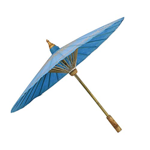 NOVICA Bamboo with Paper Hand Painted Parasol, Blue and Gold Tone, Motifs On ()