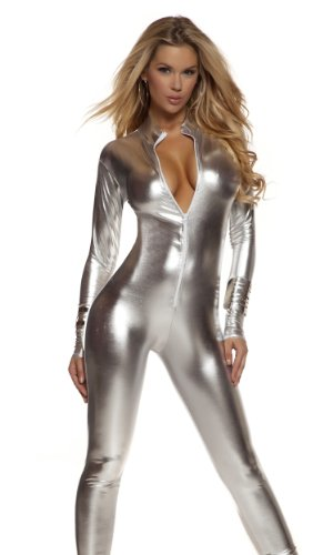 [Forplay Women's Metallic Zip Front Mock Neck Catsuit, Silver, Small/Medium] (Britney Spears Costumes)