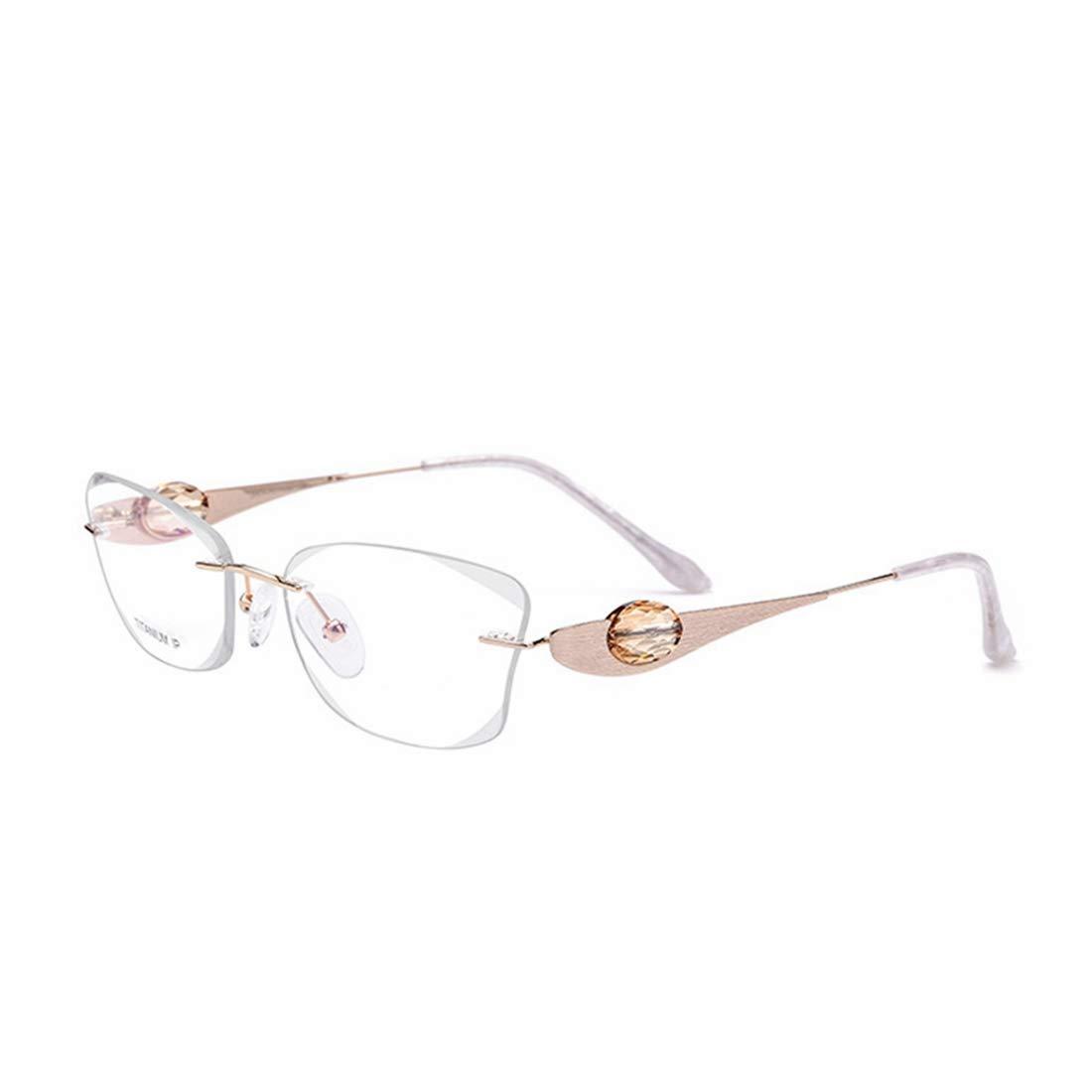 辽阳世纪电子产品贸易中心 高品質軽量ピュアチタンフレームレスビジネス眼鏡クリスタル装飾クリアレンズレジャー眼鏡 (色 : ホワイト)  ホワイト B07R783XY1