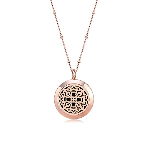 Mesinya Rose Gold Color 316L S.Steel Essential Oils Aromatherapy Diffuser Locket Necklace 20'' Chain (Vintage Cross 1'') ()