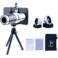 Apexel Samsung Galaxy S6 Camera Phone Lens Kit Including 14x Manual Focus Telephoto Lens/ Fisheye Lens/ Wide Angle Lens/Macro Lens with Mini Tripod /Universal Phone Holder / Hard Back Case for Samsung Galaxy S6 G920