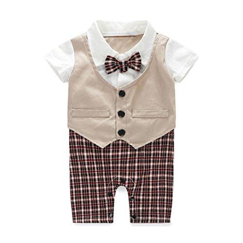 Sunward(TM) Baby Boy Party Wedding Tuxedo Waistcoat Bow Tie Suit (Size:12M, Khaki)