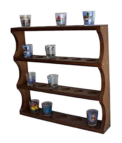 (Shot Glass Display Rack Curio Wall Shelf (Walnut Finish) SC05-Waln)