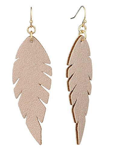 Dangle Leather (Women's Smooth Faux Leather Feather Shape Dangle Pierced Earrings, Metallic Gold-Tone)
