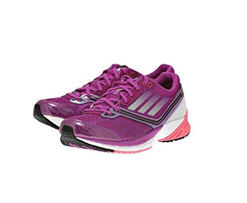 adidas Running Womens adizero Tempo 5 W Running Shoe (8, Vivid Pink/Running White/Red Zest)