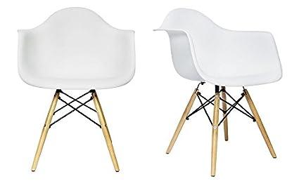 amazon com set of 2 chelsea eames daw arm chairs white wood
