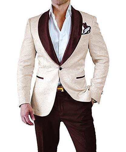 PAISUN Mens 2 Piece Jacquard Dress Suit Set One Button Tuxedo Blazer & Pants
