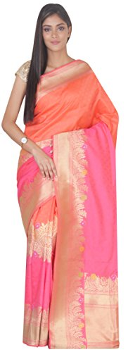 Simaaya Fashion Art Banarasi Silk Saree With Blouse Piece Shaded SF-SP126596 Peach