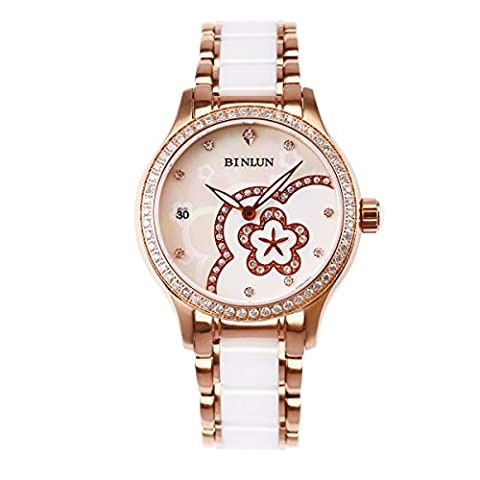 BINLUN Women's Waterproof Wrist Watch Flower Pattern Ceramic Bands Dress Watches for women Golden Case - Womens Diamante Orologio Automatico