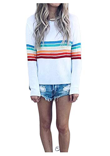 Womens Loose Colorful Stripes Long Sleeve Shirt Top Rainbow Print Shirt Tunic S
