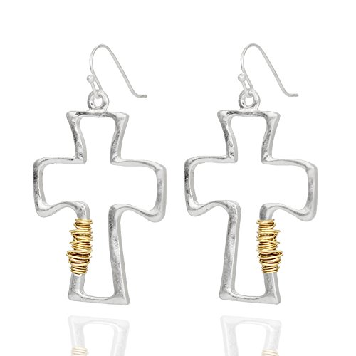 (Pomina Wire wrapped Hammered Cross Drop Earrings (Worn Silver))