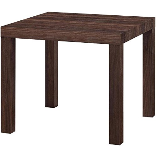 Canyon Walnut Contemporary Design End Table Hollow Core Construction With MDF Laminate Parsons End Table, Dimensions 20Lx20Wx17.7H
