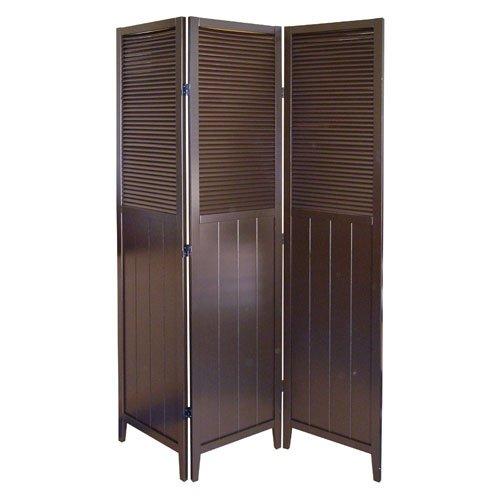 Panel Shutter 3 Door Room - 00R5421 Shutter Door 3-Panel Room Divider - Espresso