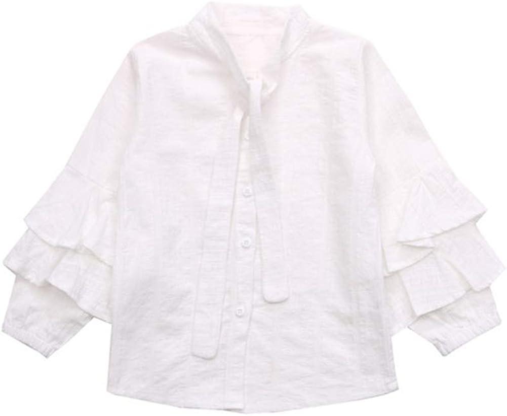 Camisa de Primavera y otoño para niñas Collar con Cordones ...
