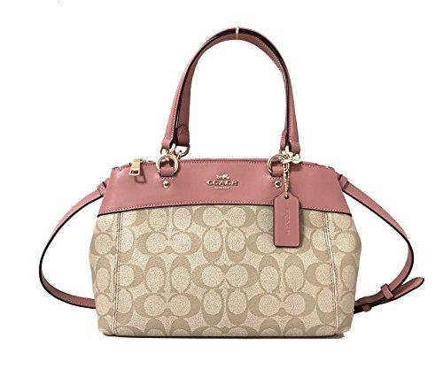 Coach Mini Brooke Leather Carryall Handbag Crossbody (IM/Lt Khaki/Vintage Pink)