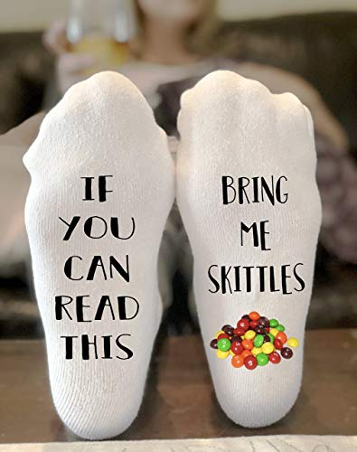 If You Can Read This Bring Me Skittles Novelty Funky Crew Socks Men Women Christmas Gifts Cotton Slipper Socks -