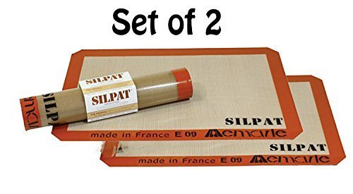Silpat Non-Stick Silicone Jelly Roll Pan Baking Mat (2, 14 1/2-Inch by10-Inch) ()