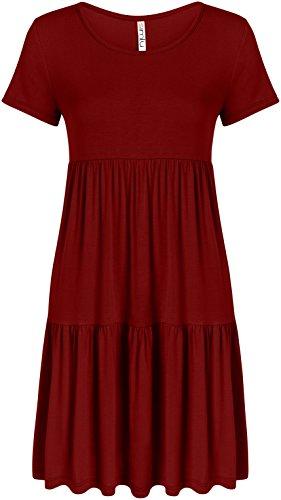 Burgundy Dress for Women Plus Size and Reg Burgundy Cute a Line Tunic Dress, Burgundy, Small