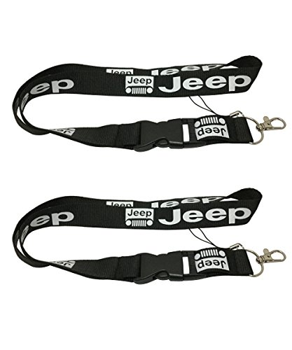 2pcs Black Jeep Auto Lanyard Workout Gear Office And Auto Car Keychain Accessories Motorbike Superbike Lanyard With Webbing Strap Quick Release Buckle