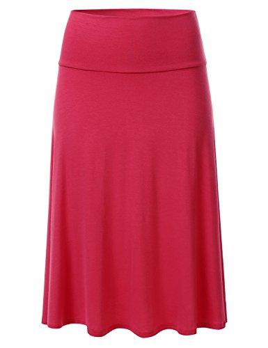 FLORIA Women's Solid Lightweight Knit Elastic Waist Flared Midi Skirt RED M