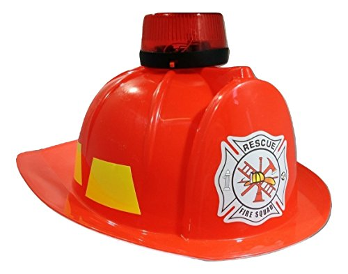 (Toy Fireman Helmet Lights and Sound Siren, Red, One Size)