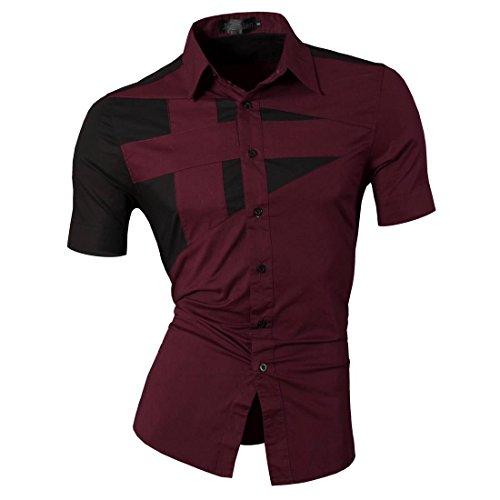 Camicie Uomini Z002 Corta Moda Speciali Manica Libero Jeansian Uomo Winered Tempo Design Collare Slim E5qTPwt7