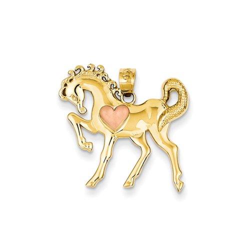 Deux Tons avec cheval cabré Pendentif Cœur Rose en Or 14carats