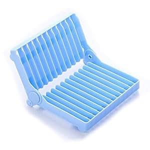 LEORX Plegable plástico secado escurreplatos, utensilio palero (azul)