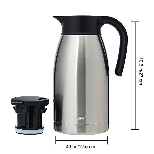 GiNT Stainless Steel Thermal Coffee Carafe with Lid/Double Walled Vacuum Thermos / 12 Hour Heat Retention,1.9L,Sliver by GiNT (Image #1)