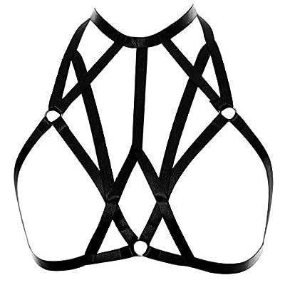 Women Body Harness Bra Waist Belt Strappy Crop Tops Goth Punk Pentagram Festival Rave Bralette