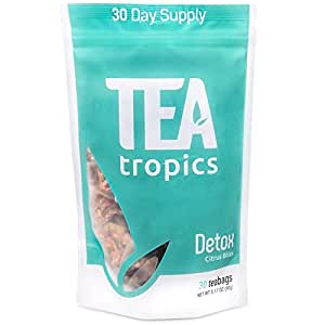 Full Body Detox Tea 30 Day Cleanse - Herbal Tea for Liver, Colon, Kidney, Bladder and Skin Detox - Weight Loss Cleansing Tea - Great Citrus Taste Caffeine Free Brew Hot or Iced Teatox by Tea Tropics