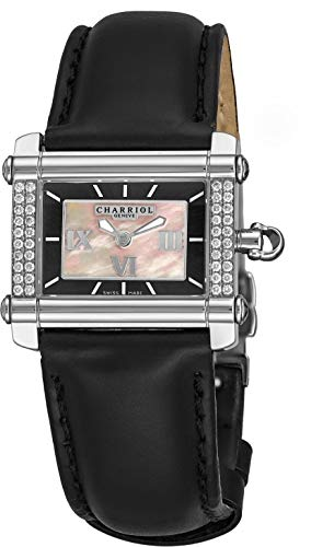 - Charriol Actor Rectangular-Mini Womens Diamond Watch - Mother of Pearl Face with Luminous Hands and Sapphire Crystal - Stainless Steel Black Leather Band Classic Rectangle Ladies Watch CCHSD.361.HS02