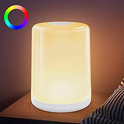 Bedside Lamp, LBell Touch Control Table Lamp, Dimmable Warm White Night Light, RGB Color Changing Lighting Memory Function Bedside Light for Living Rooms and Bedrooms
