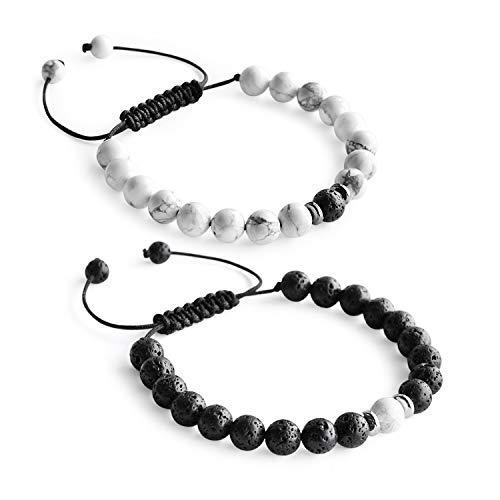 Me&Hz Adjustable Braid Distance Relationship Bracelet for Couples Best-Friends Black White Beaded Matching Distance Bracelets Set for Him Her ()